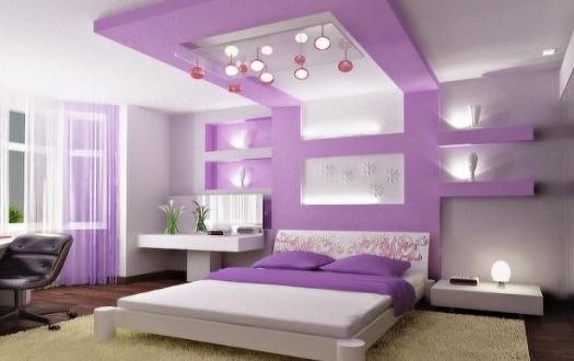 غرف نوم للعرسان باللون الأرجواني   الثريا